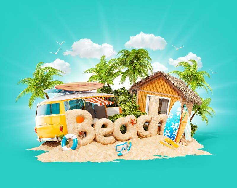 Het woordstrand van zand op tropisch eiland wordt gemaakt dat Ongebruikelijke 3d illustratie van de zomervakantie Reis en Vakanti royalty-vrije illustratie