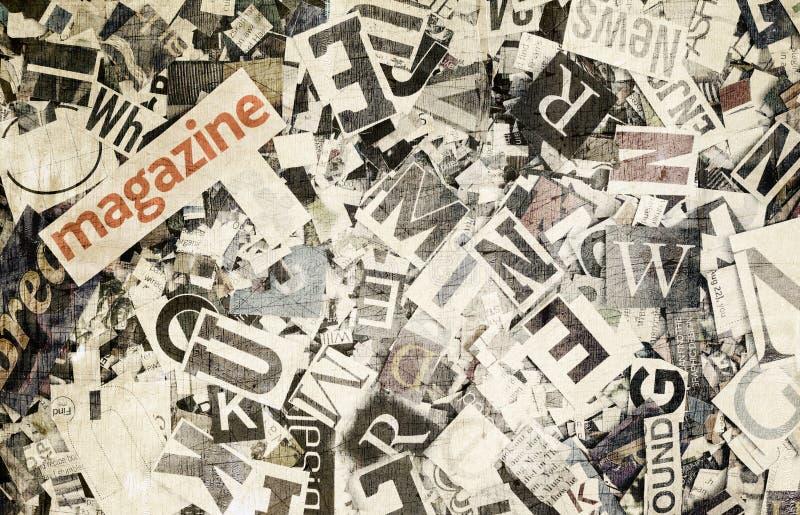 Het woordtijdschrift en de willekeurige brieven in gestemde kleur stock afbeeldingen