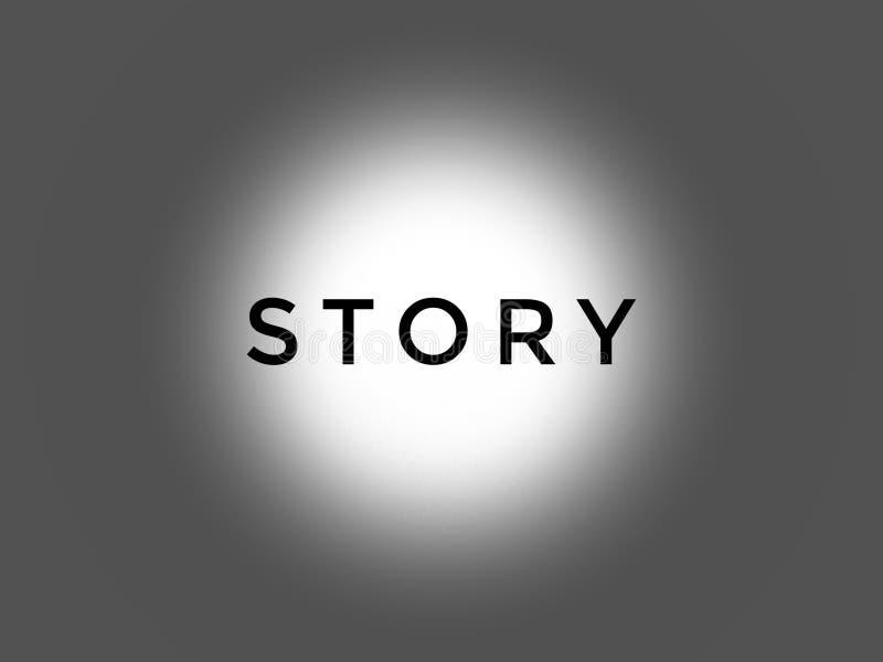 Het woordverhaal in zwarte kleur op de grijze achtergrond stock afbeelding