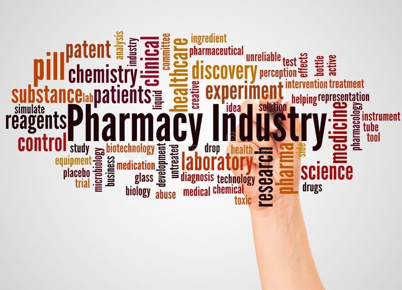 Het woordwolk en hand van de apotheekindustrie met tellersconcept stock afbeelding