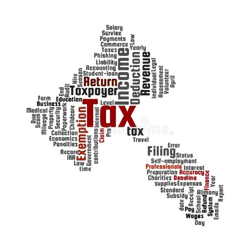 Het woordwolk van het belastingsonderwerp Hamervorm royalty-vrije illustratie