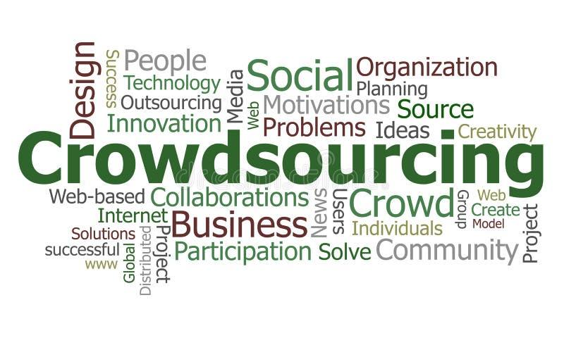 Het woordwolk van Crowdsourcing vector illustratie