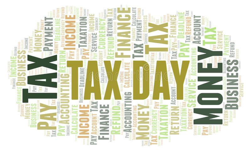 Het woordwolk van de belastingsdag vector illustratie