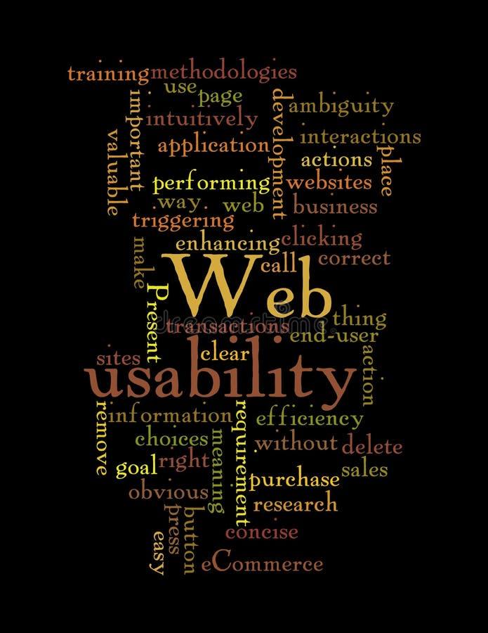 Het woordwolk van de Bruikbaarheid van het Web die op zwarte wordt geïsoleerd royalty-vrije illustratie