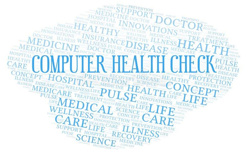 Het woordwolk van de computerGezondheidscontrole stock illustratie
