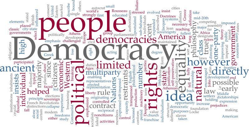 Het woordwolk van de democratie vector illustratie