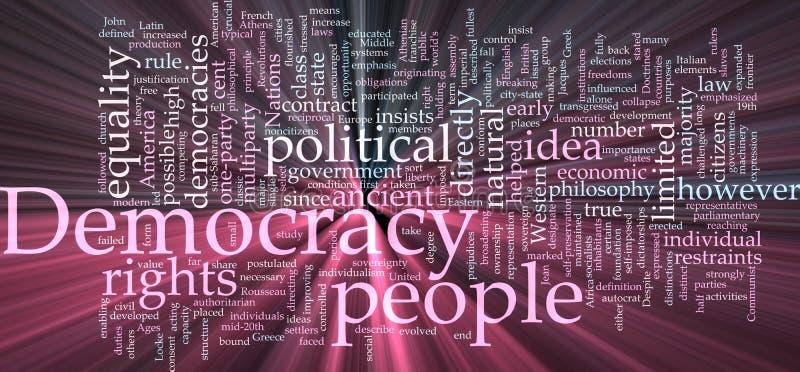 Het woordwolk van de democratie het gloeien vector illustratie