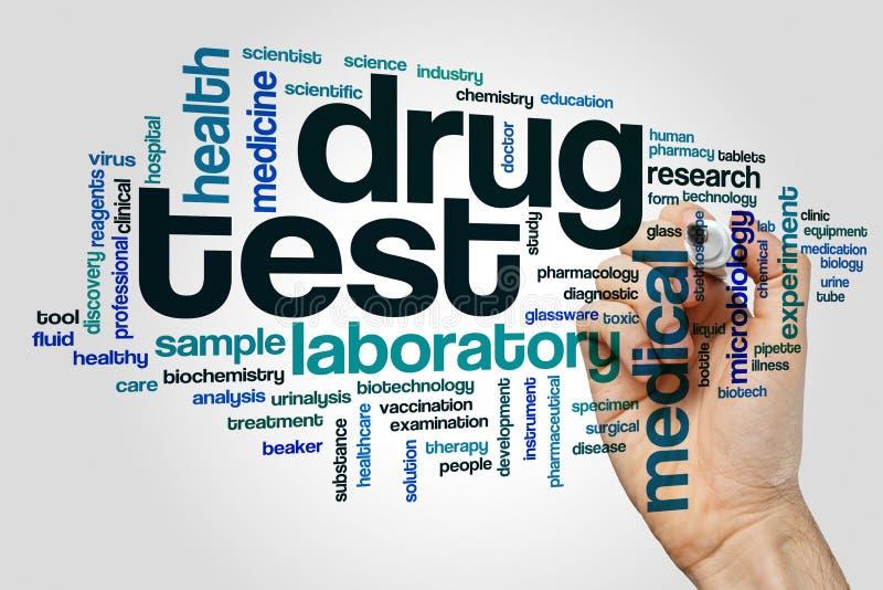 Het woordwolk van de drugtest stock afbeeldingen