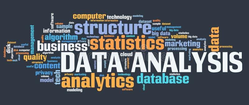 Het woordwolk van de gegevensanalyse stock illustratie