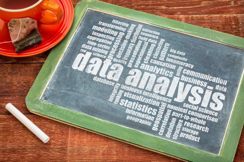Het woordwolk van de gegevensanalyse stock foto