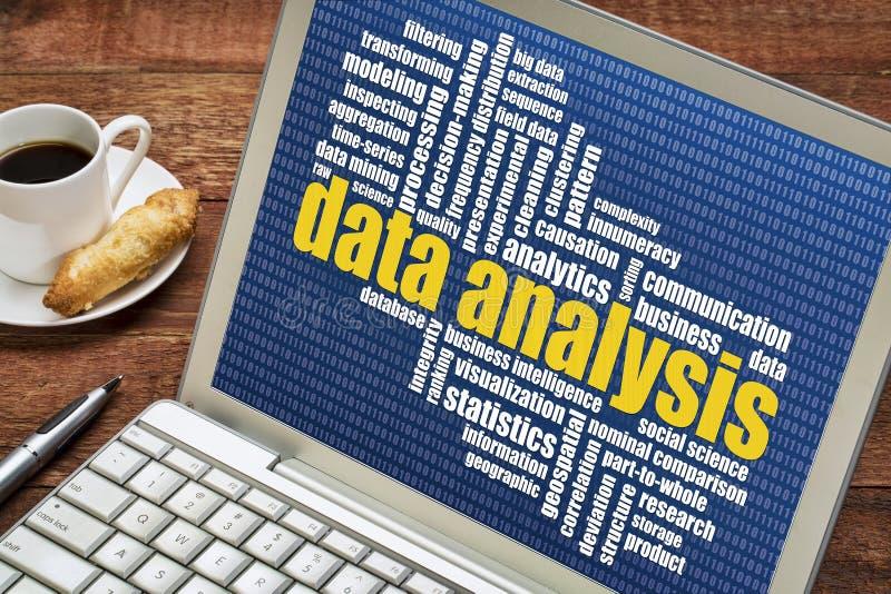 Het woordwolk van de gegevensanalyse op laptop royalty-vrije stock afbeelding