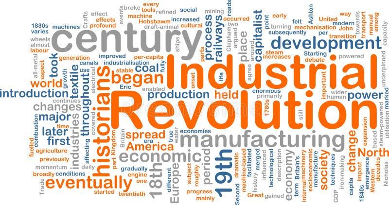 Het woordwolk van de industriële revolutie vector illustratie
