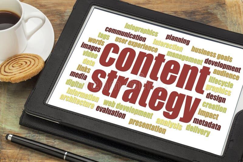 Het woordwolk van de inhoudsstrategie royalty-vrije stock foto's