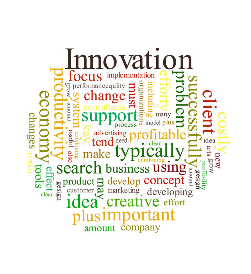 Het woordwolk van de innovatie stock illustratie