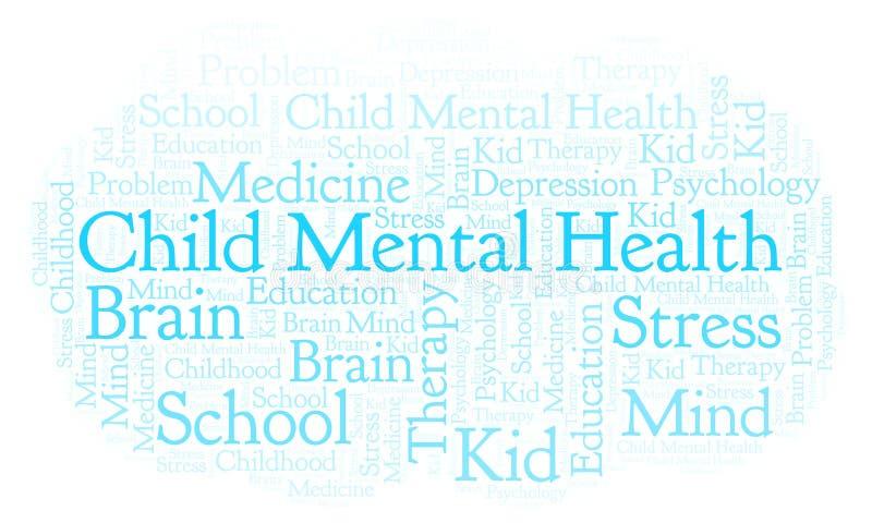 Het woordwolk van de kind Geestelijke Gezondheid stock illustratie