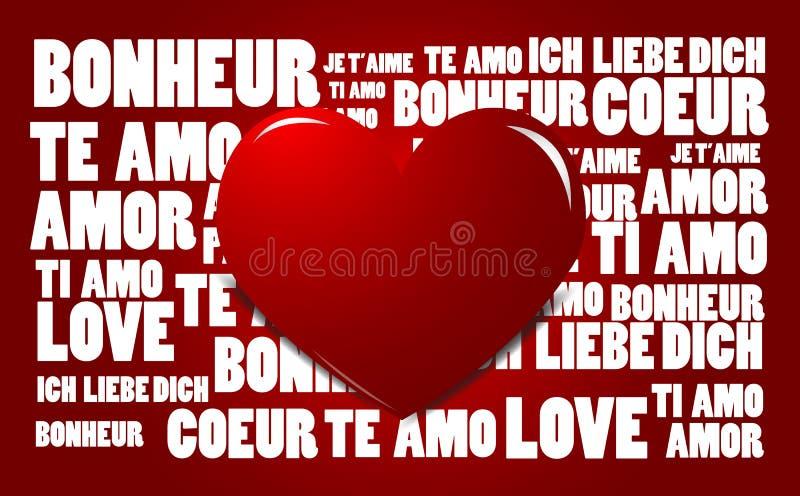 Het woordwolk van de liefde met rood hart vector illustratie