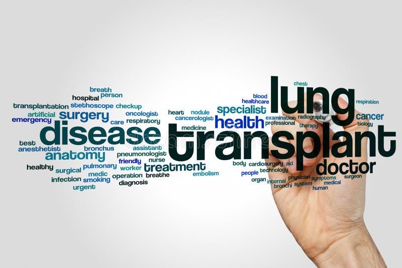 Het woordwolk van de longtransplantatie stock foto