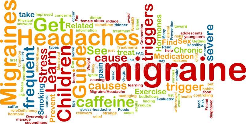 Het woordwolk van de migraine stock illustratie