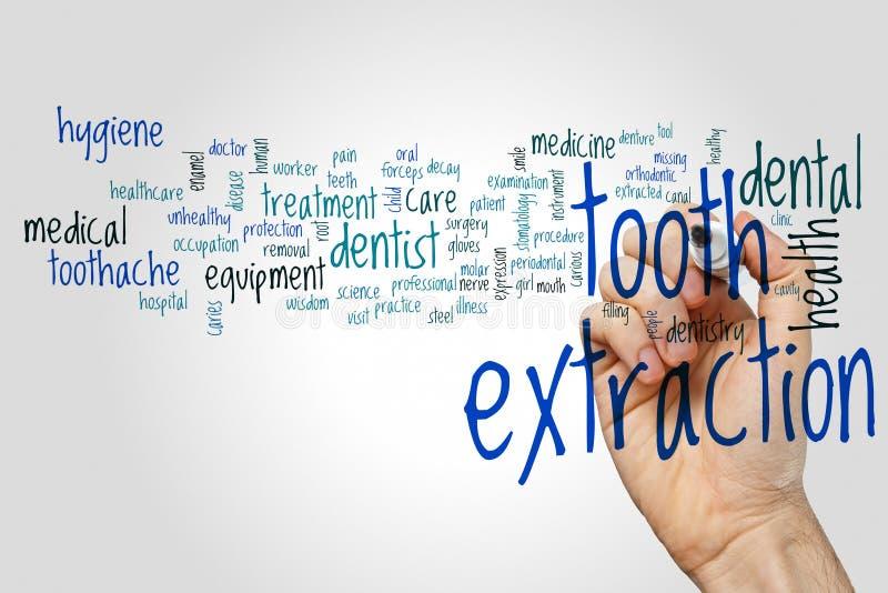 Het woordwolk van de tandextractie stock fotografie