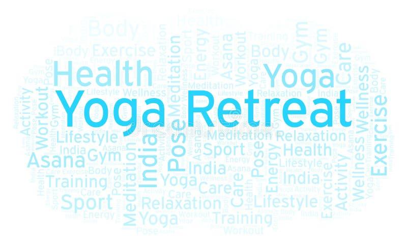 Het woordwolk van de yogaterugtocht vector illustratie