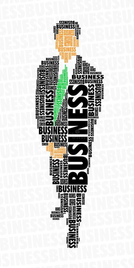Het woordwolk van de zakenman - zaken vector illustratie