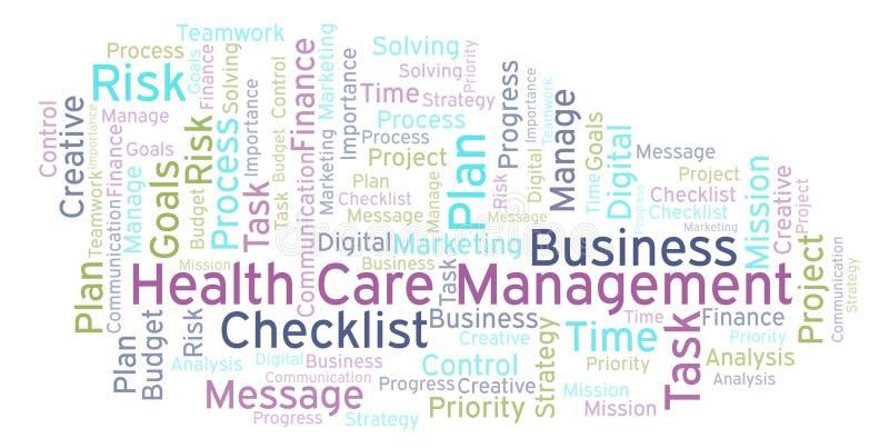 Het woordwolk van het gezondheidszorgbeheer, met slechts tekst wordt gemaakt die vector illustratie
