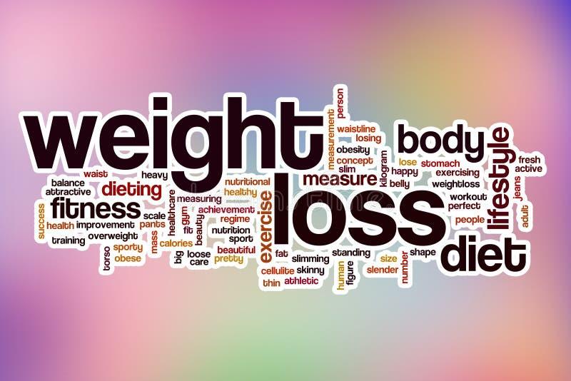 Het woordwolk van het gewichtsverlies met abstracte achtergrond stock afbeeldingen