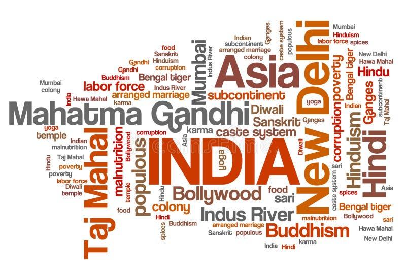 Het woordwolk van India vector illustratie
