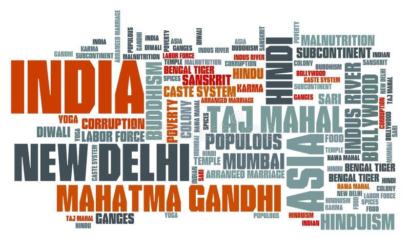 Het woordwolk van India stock illustratie