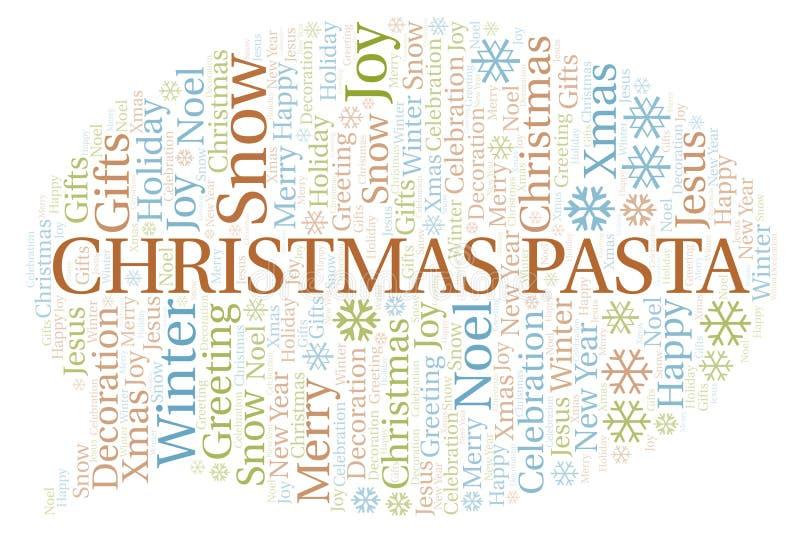 Het woordwolk van Kerstmisdeegwaren stock illustratie