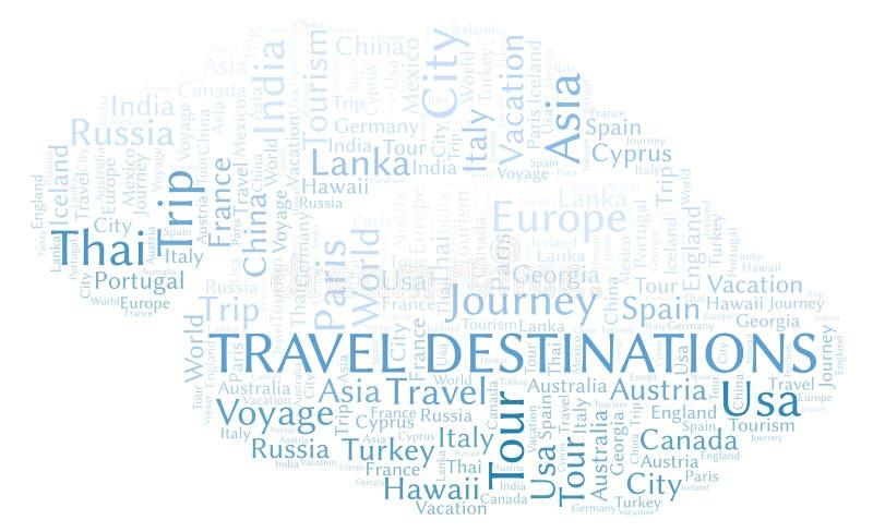 Het woordwolk van reisbestemmingen royalty-vrije illustratie