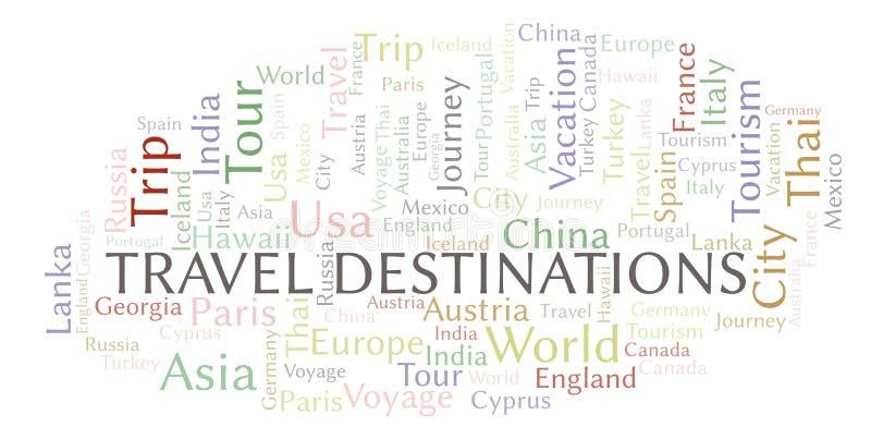 Het woordwolk van reisbestemmingen vector illustratie