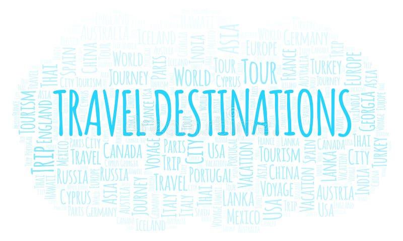 Het woordwolk van reisbestemmingen stock illustratie