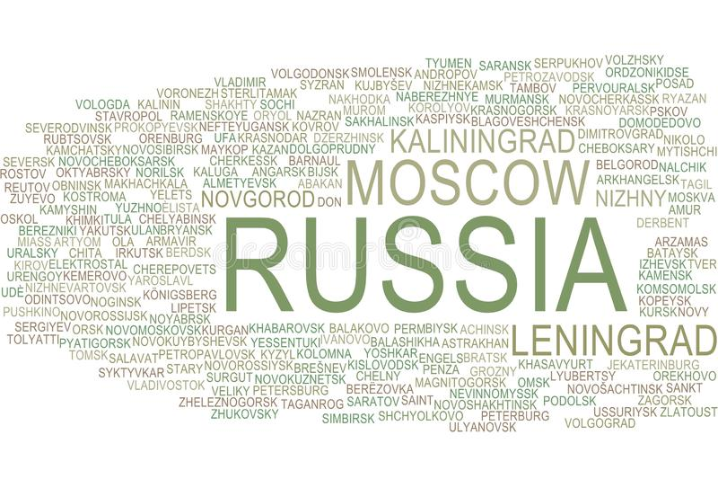 Het woordwolk van Rusland stock illustratie