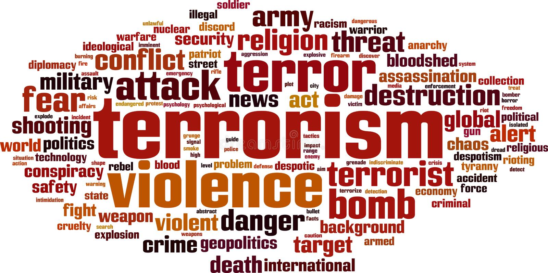 Het woordwolk van het terrorisme stock illustratie