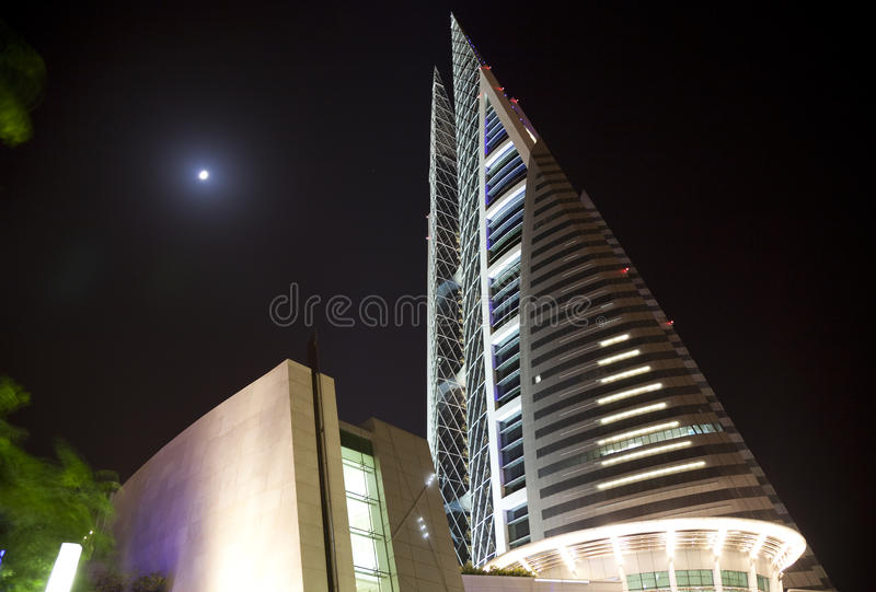 Het World Trade Center van Bahrein bij Nacht, Bahrein royalty-vrije stock foto's