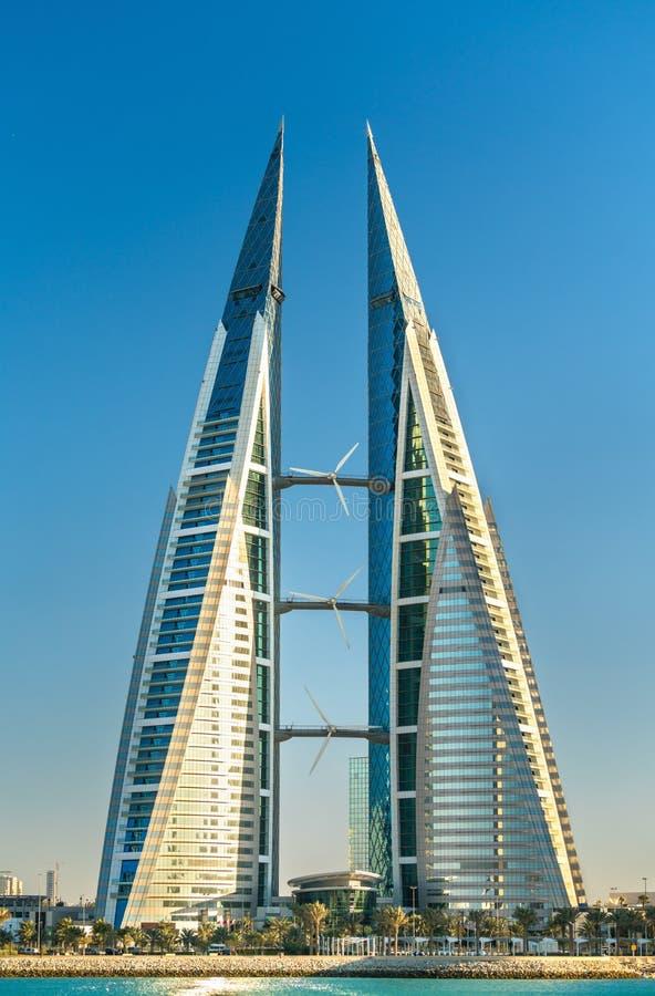 Het World Trade Center van Bahrein in Manama Het Midden-Oosten royalty-vrije stock afbeelding