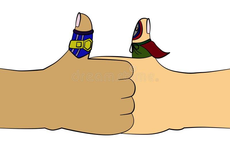 Het worstelen van de duim vector illustratie