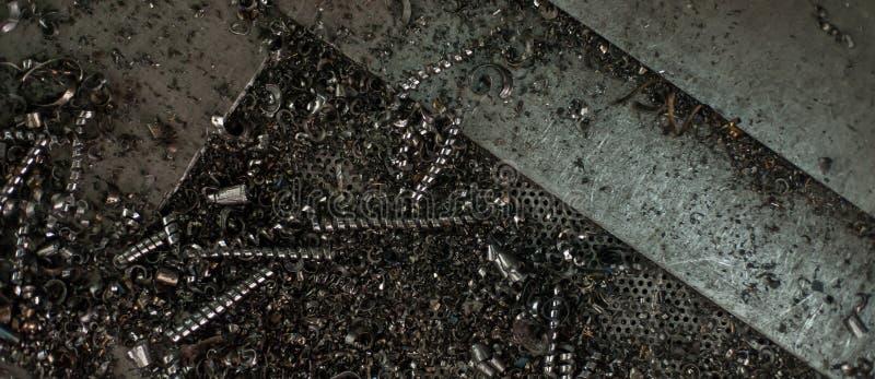 Het zaagsel van het metaalschroot als abstracte achtergrond stock foto