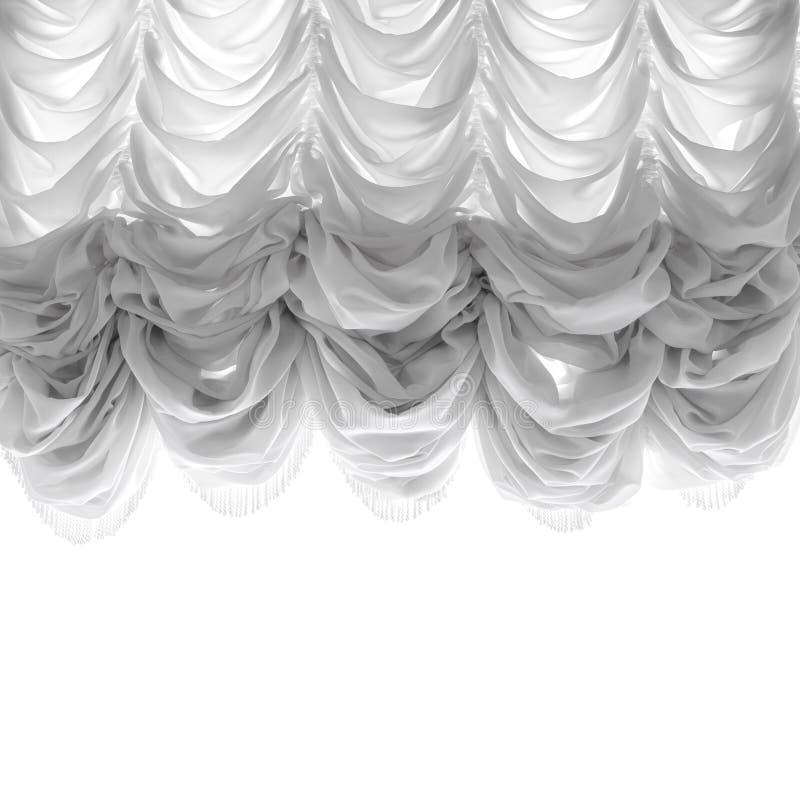 Het zachte die gordijn van Tulle op wit wordt geïsoleerd stock afbeelding