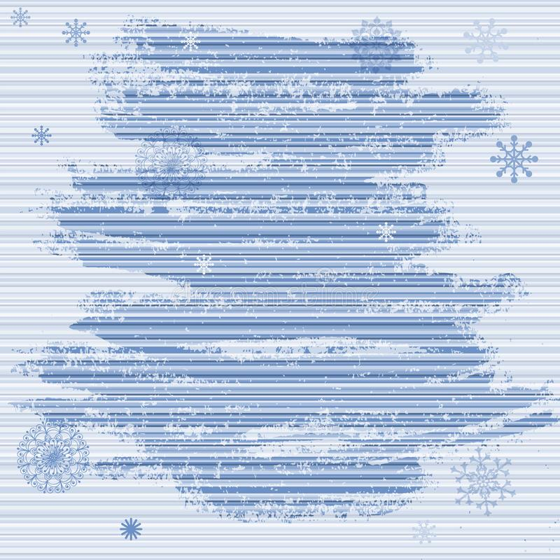 Het zachte kader van grungekerstmis met blauwe strepen en sneeuwvlokken vector illustratie