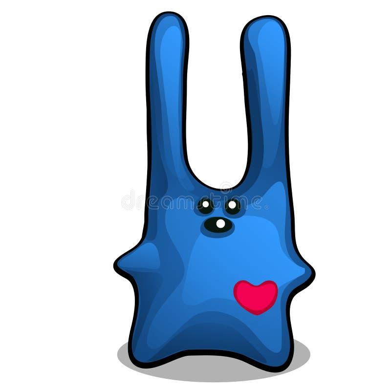 Het zachte stuk speelgoed in de vorm van een blauw konijn met lange die oren wordt gevuld met het opvullen van polyester, op witt royalty-vrije illustratie