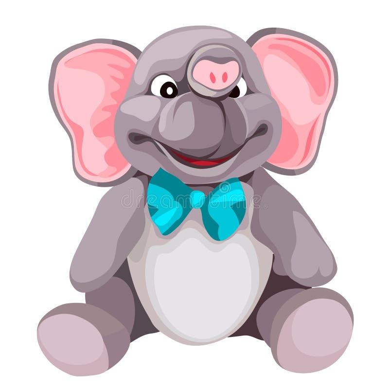 Het zachte stuk speelgoed van de pluche grijze die olifant op witte achtergrond wordt geïsoleerd De vectorillustratie van het bee vector illustratie