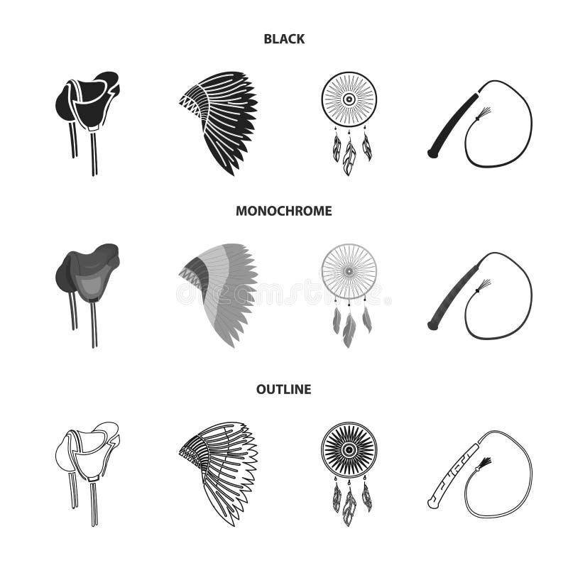 Het zadel, Indische mohawk, ranselt, droomt vanger De wilde pictogrammen van de het westen vastgestelde inzameling in de zwarte,  stock illustratie