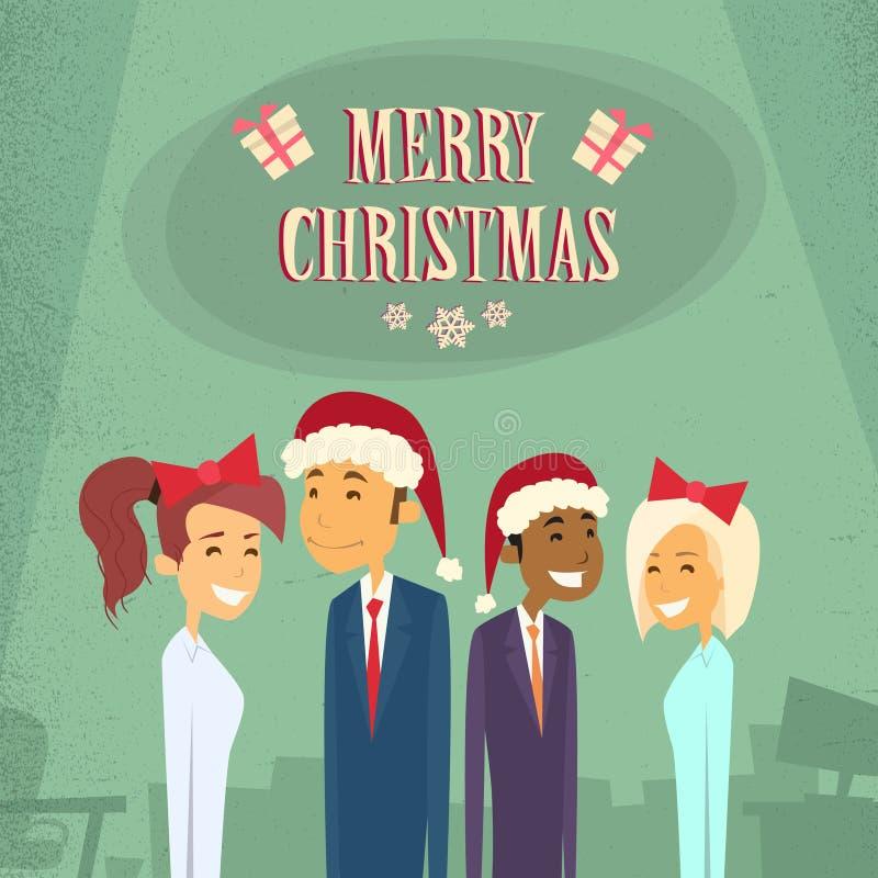 Het zakenlui draagt Santa Hat Merry Christmas stock illustratie