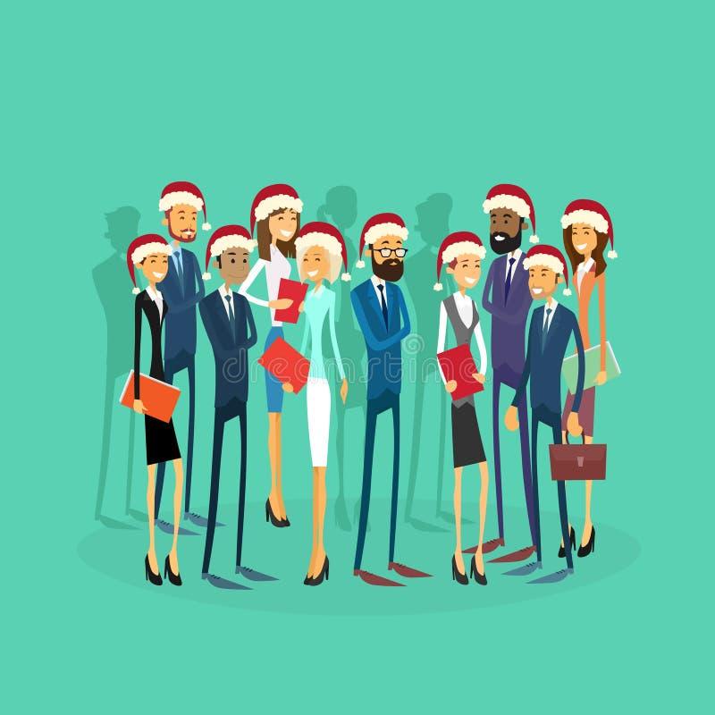 Het zakenlui draagt Santa Hat Merry Christmas And royalty-vrije illustratie
