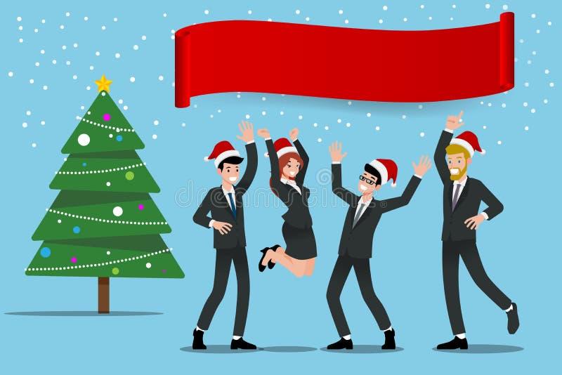 Het zakenlui viert Vrolijke Kerstmispartij met van de commerciële de Kerstmanhoed Teamslijtage, vlak vectorillustratieontwerp royalty-vrije illustratie