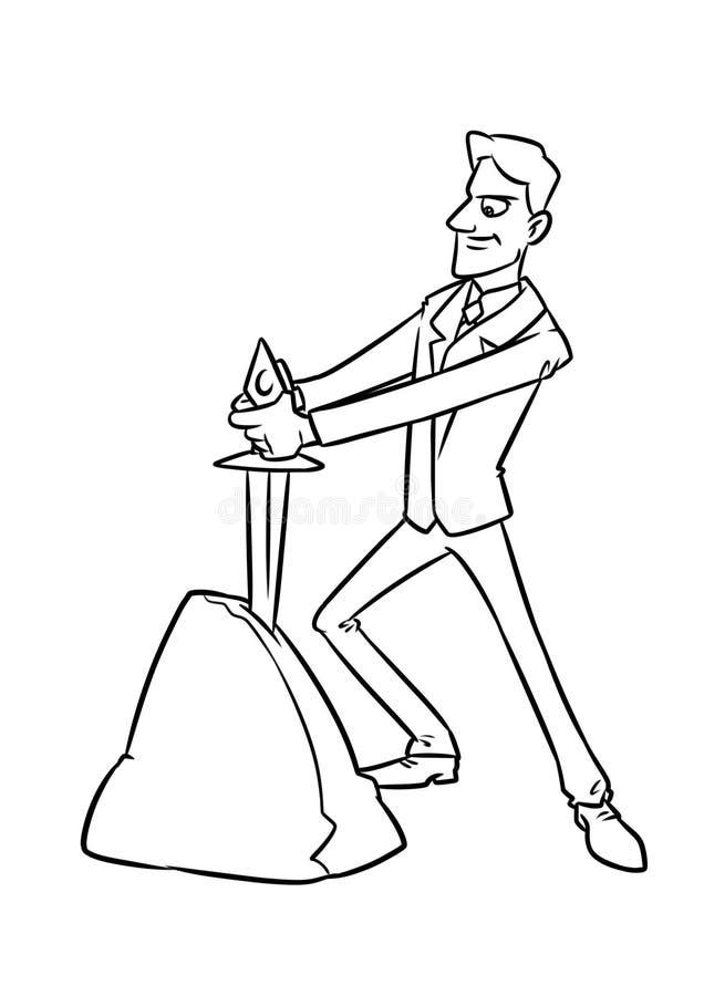 Het zakenman gekozen lot, het beeldverhaalillustratie van de zwaardsteen royalty-vrije illustratie
