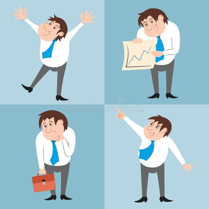 Het zakenmankarakter stelt reeks vector illustratie