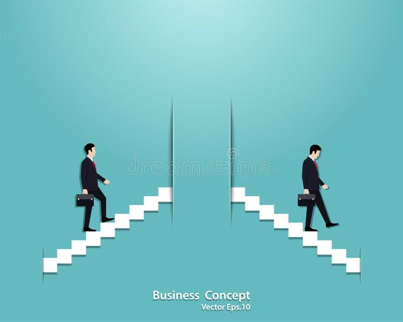 Het zakenmanopstarten en de zakenman ontbreken in bedrijfsconcept vector illustratie